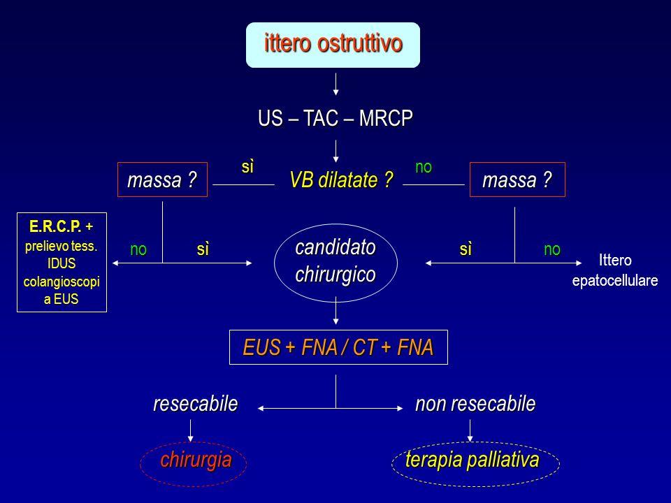 ittero ostruttivo US – TAC – MRCP massa VB dilatate massa