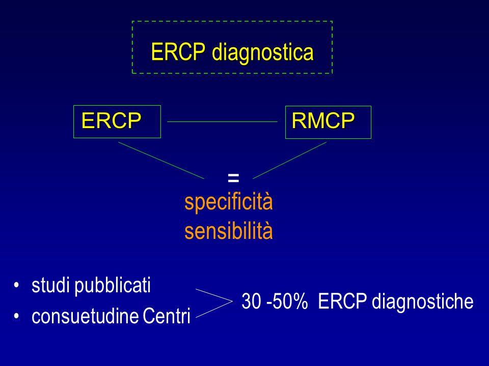= ERCP diagnostica ERCP RMCP specificità sensibilità studi pubblicati
