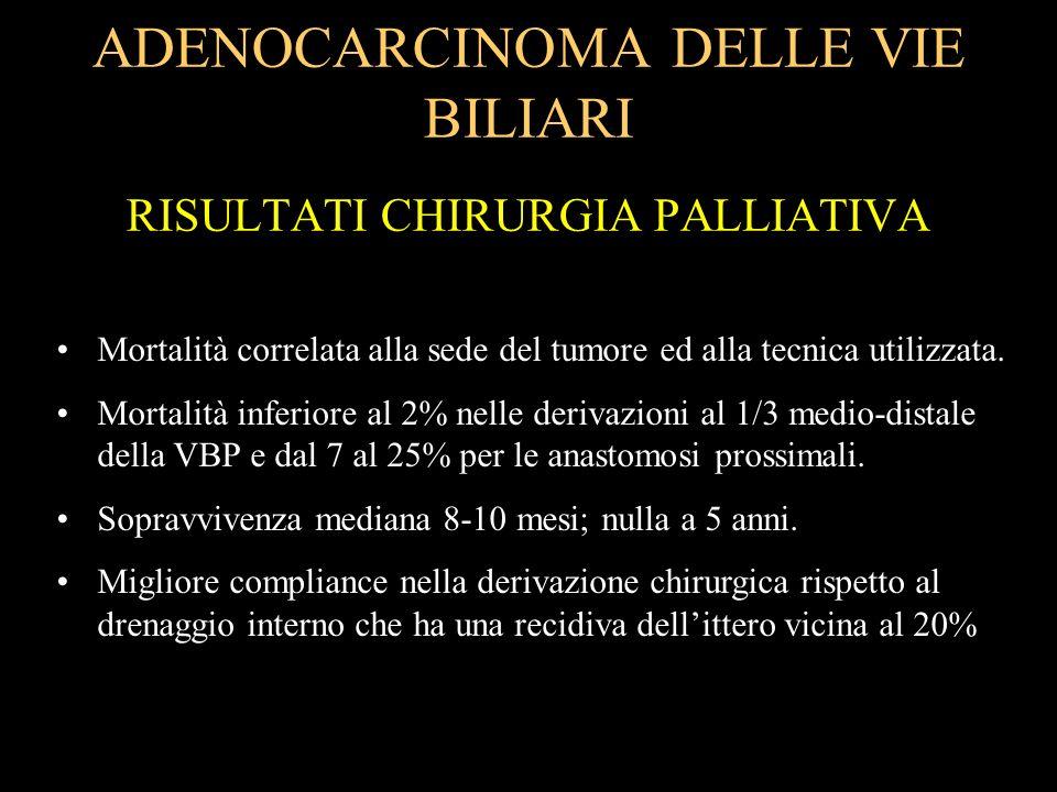 ADENOCARCINOMA DELLE VIE BILIARI RISULTATI CHIRURGIA PALLIATIVA