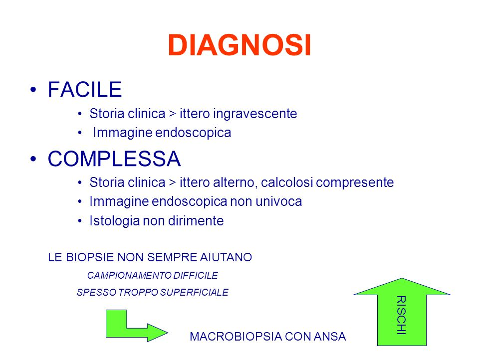 DIAGNOSI FACILE COMPLESSA Storia clinica > ittero ingravescente