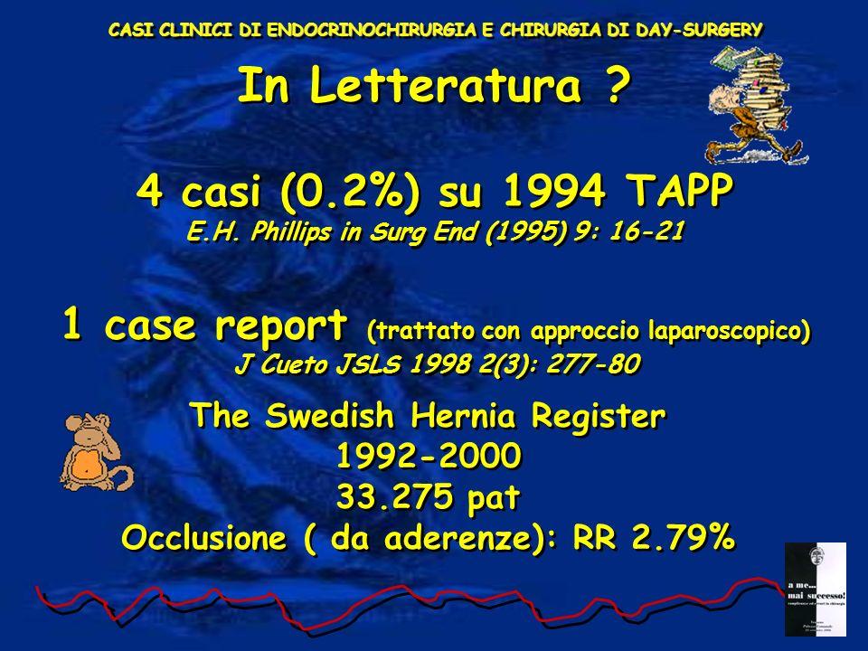 In Letteratura 4 casi (0.2%) su 1994 TAPP