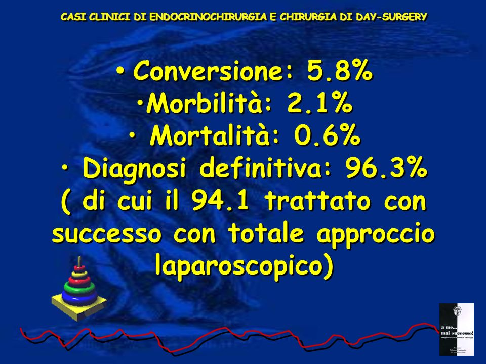 Conversione: 5.8% Morbilità: 2.1% Mortalità: 0.6%