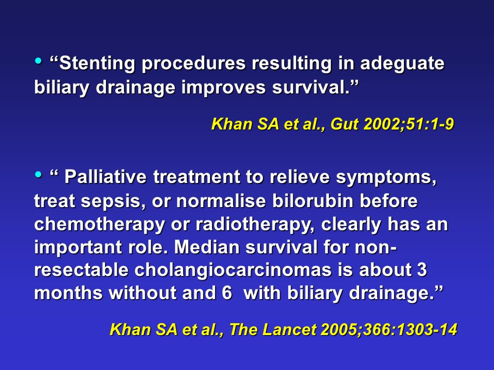 Stenting procedures resulting in adeguate biliary drainage improves survival.