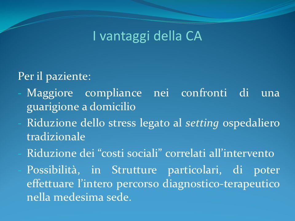I vantaggi della CA Per il paziente: