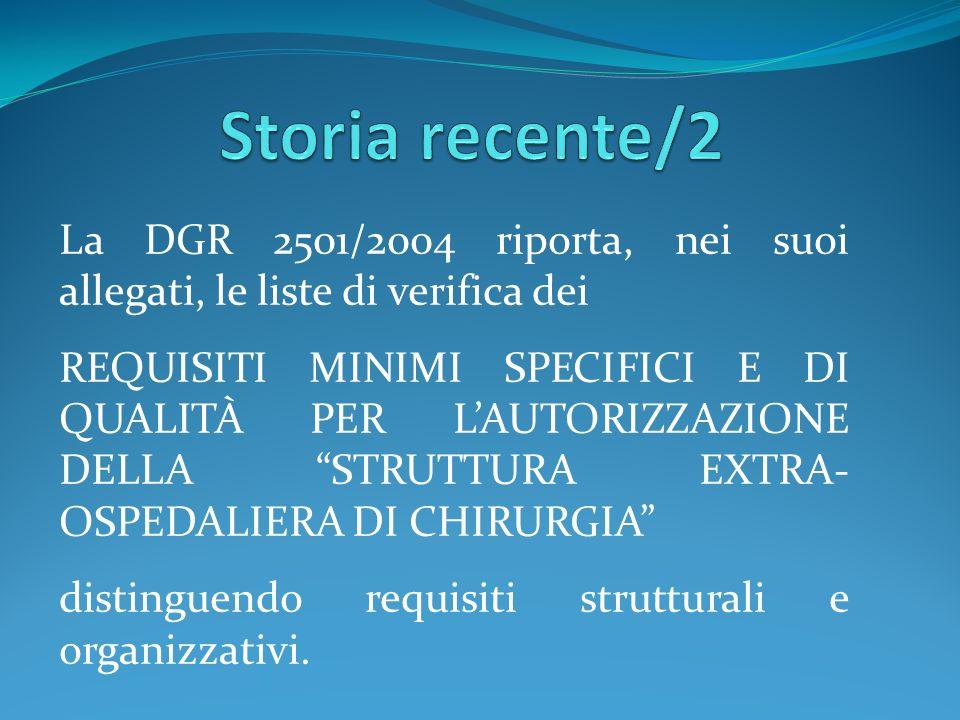 Storia recente/2La DGR 2501/2004 riporta, nei suoi allegati, le liste di verifica dei.