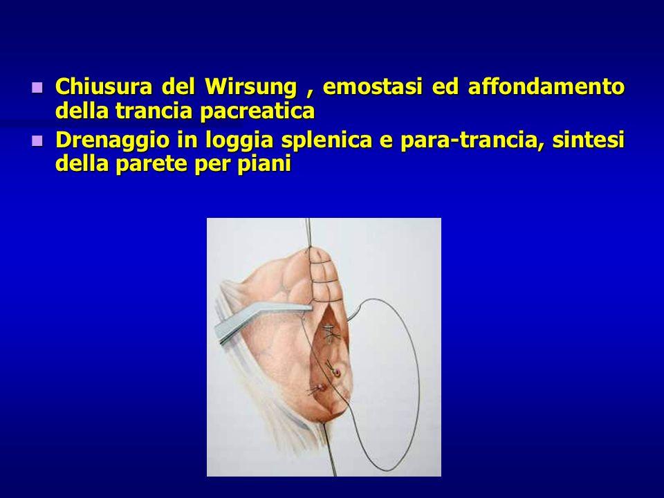 Chiusura del Wirsung , emostasi ed affondamento della trancia pacreatica
