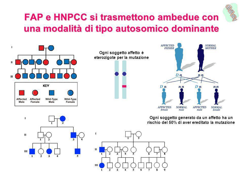 FAP e HNPCC si trasmettono ambedue con una modalità di tipo autosomico dominante