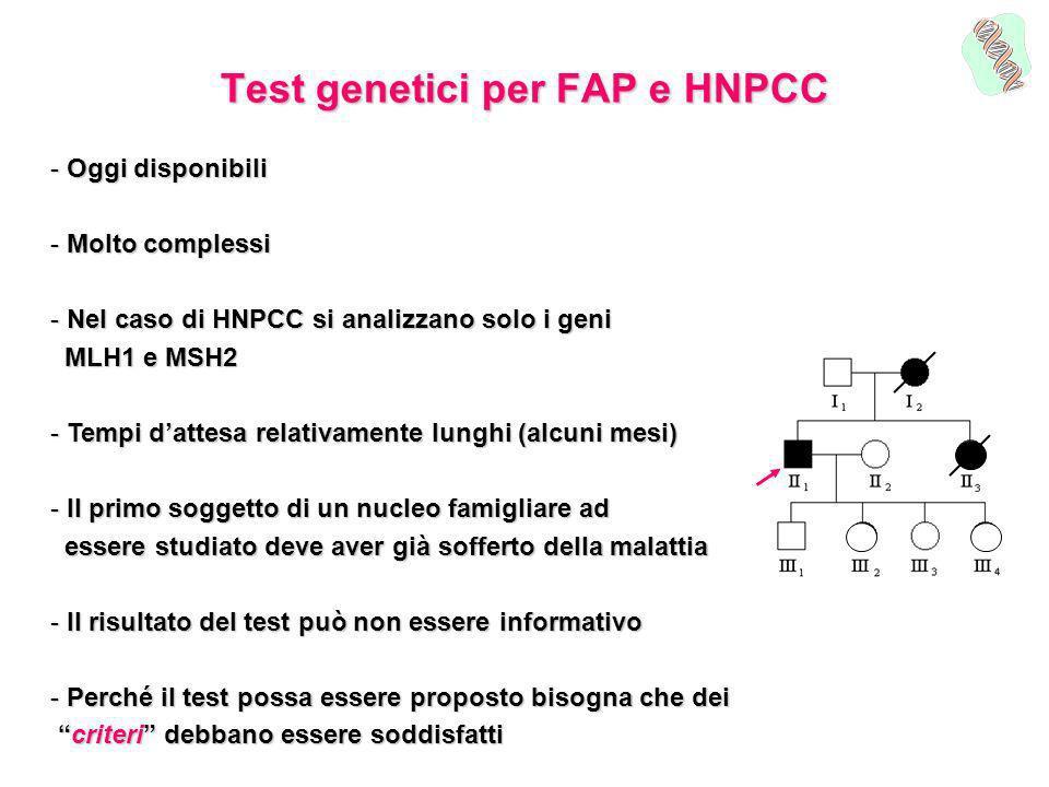 Test genetici per FAP e HNPCC