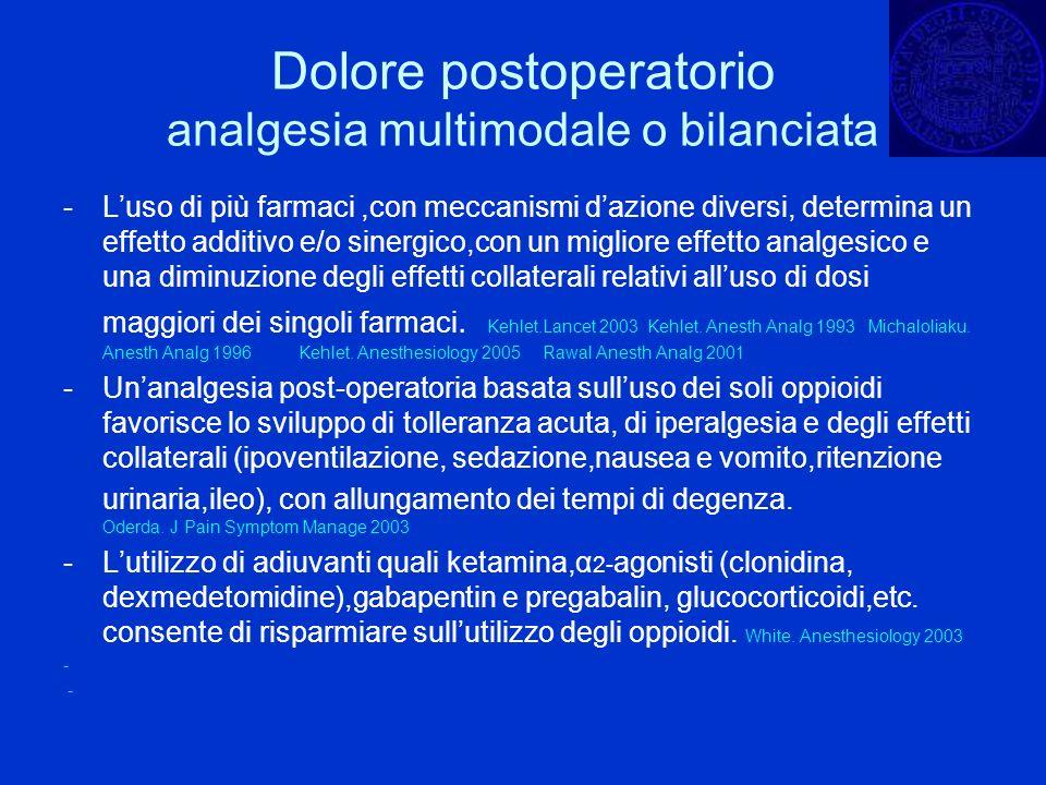 Dolore postoperatorio analgesia multimodale o bilanciata