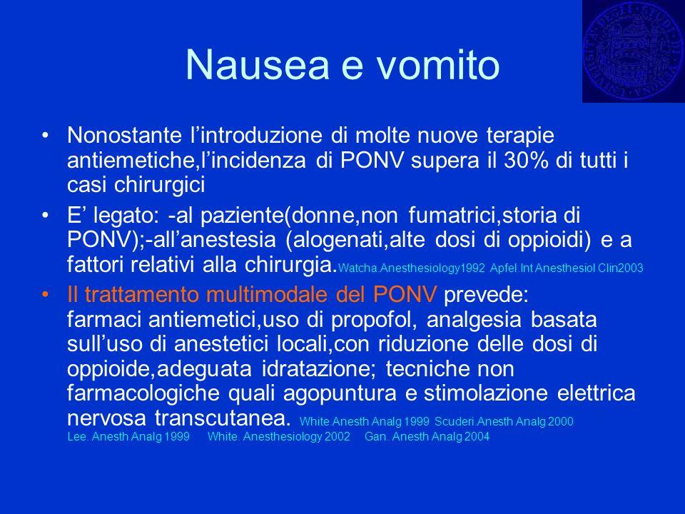 Nausea e vomito Nonostante l'introduzione di molte nuove terapie antiemetiche,l'incidenza di PONV supera il 30% di tutti i casi chirurgici.