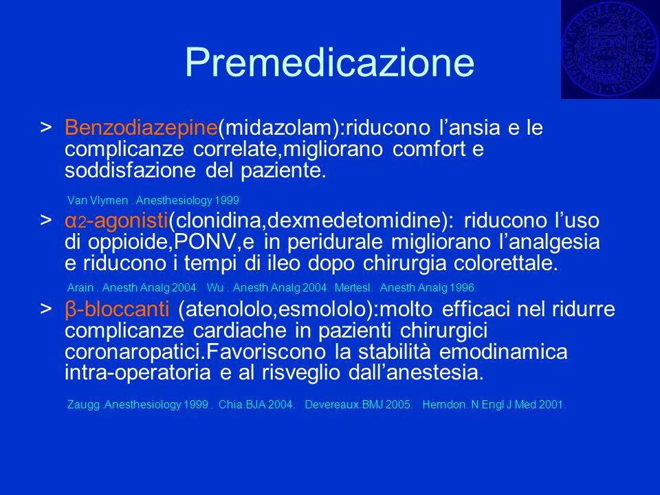 Premedicazione> Benzodiazepine(midazolam):riducono l'ansia e le complicanze correlate,migliorano comfort e soddisfazione del paziente.