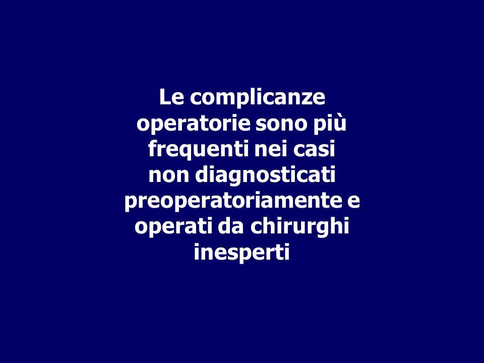 Le complicanze operatorie sono più frequenti nei casi