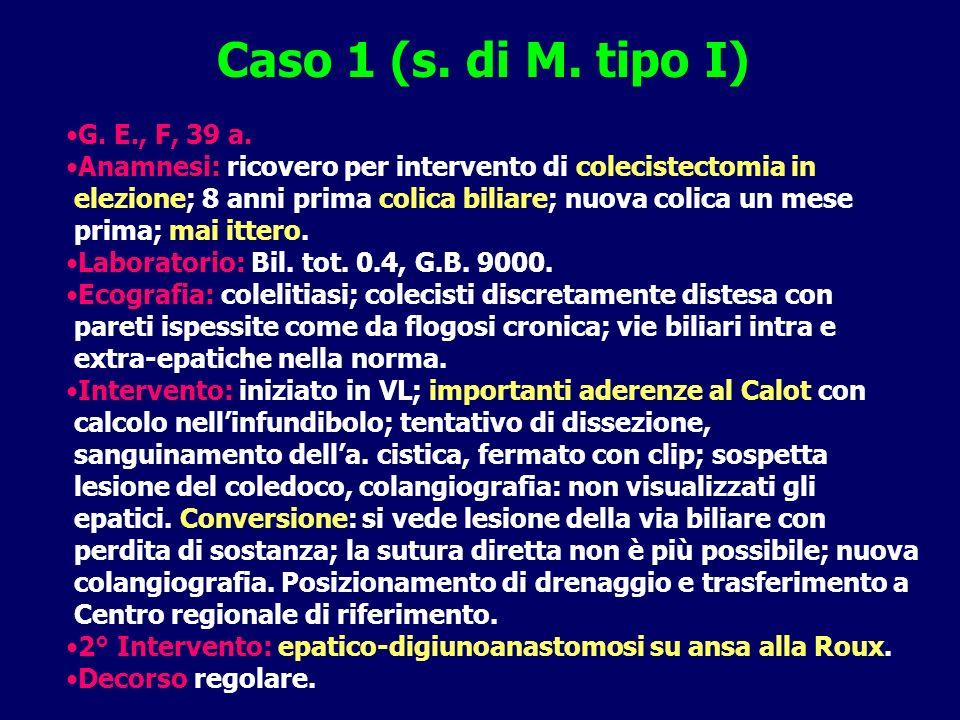 Caso 1 (s. di M. tipo I) G. E., F, 39 a. Anamnesi: ricovero per intervento di colecistectomia in.