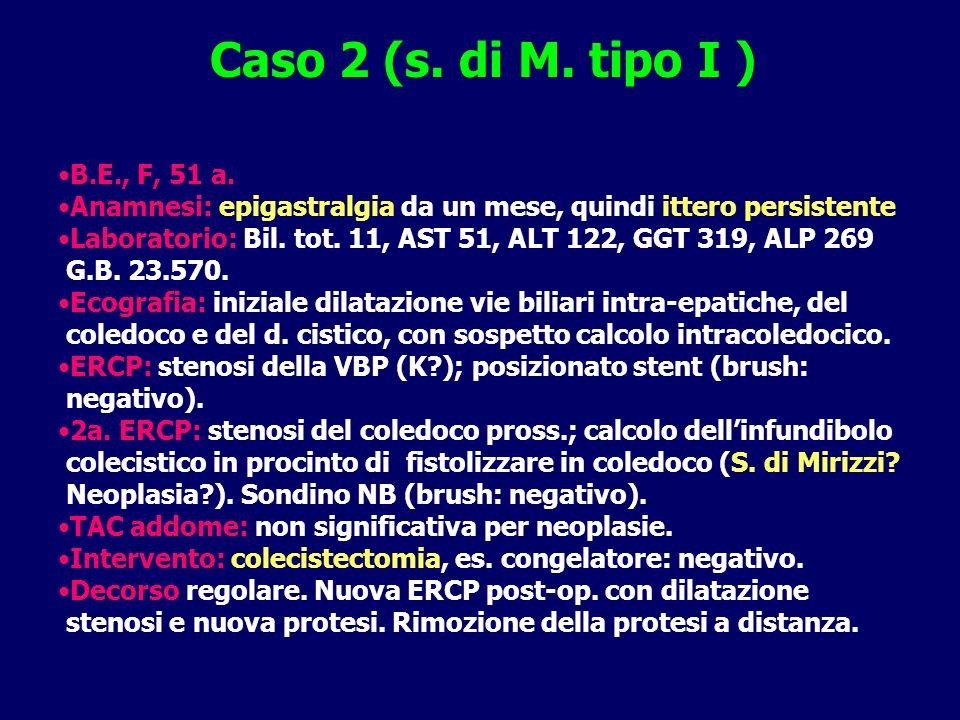 Caso 2 (s. di M. tipo I ) B.E., F, 51 a. Anamnesi: epigastralgia da un mese, quindi ittero persistente.