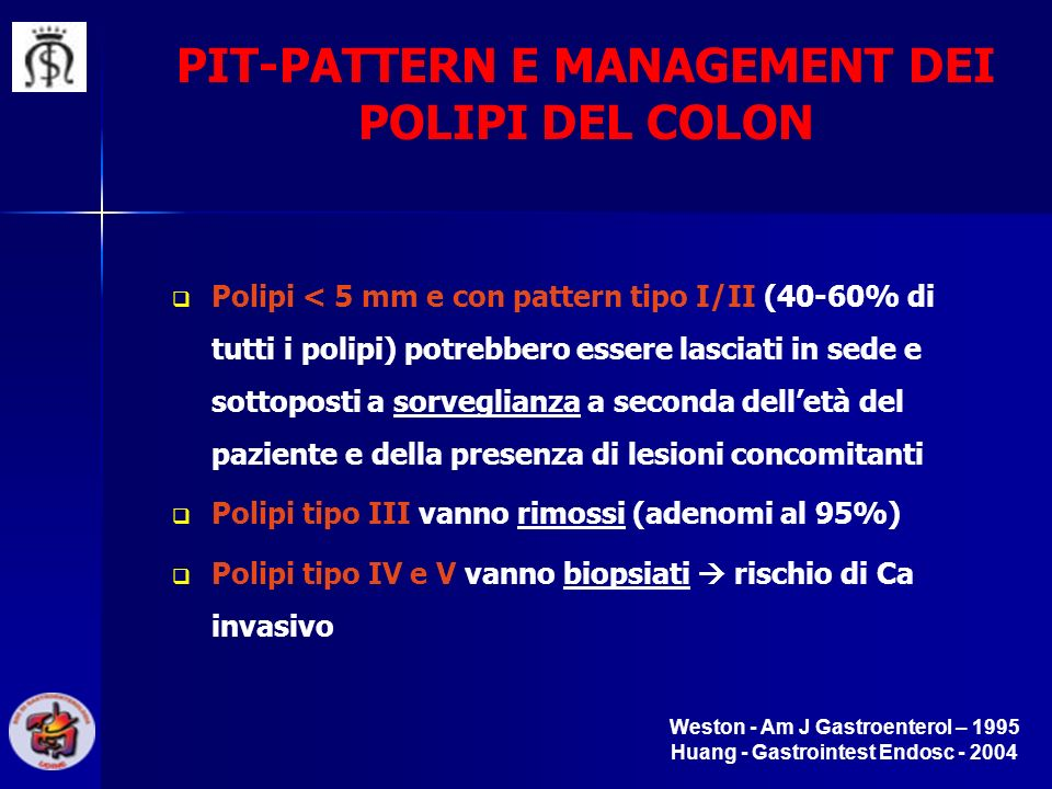 PIT-PATTERN E MANAGEMENT DEI POLIPI DEL COLON