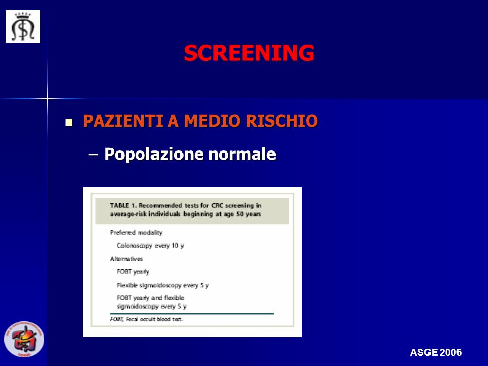 SCREENING PAZIENTI A MEDIO RISCHIO Popolazione normale ASGE 2006