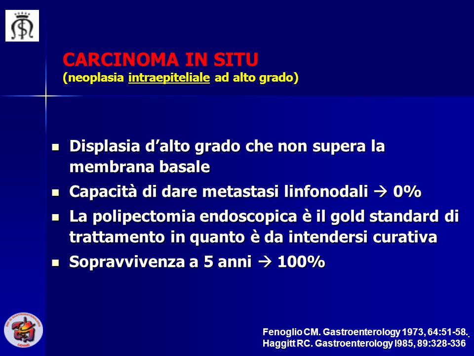 CARCINOMA IN SITU (neoplasia intraepiteliale ad alto grado)