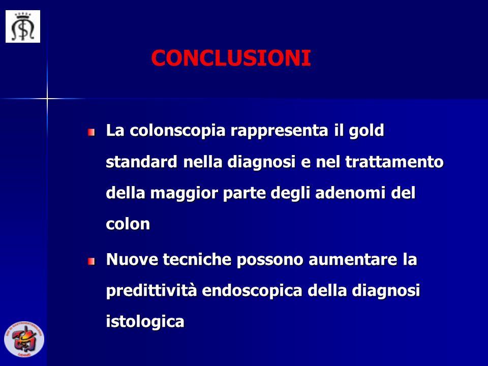 CONCLUSIONI La colonscopia rappresenta il gold standard nella diagnosi e nel trattamento della maggior parte degli adenomi del colon.