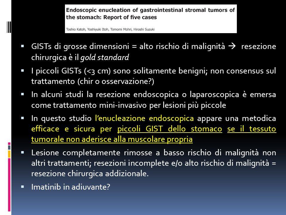 GISTs di grosse dimensioni = alto rischio di malignità  resezione chirurgica è il gold standard