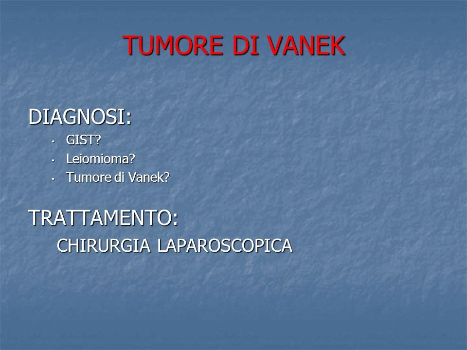 TUMORE DI VANEK DIAGNOSI: TRATTAMENTO: CHIRURGIA LAPAROSCOPICA GIST