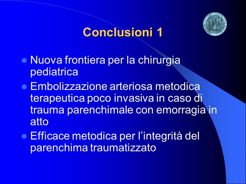 Conclusioni 1 Nuova frontiera per la chirurgia pediatrica