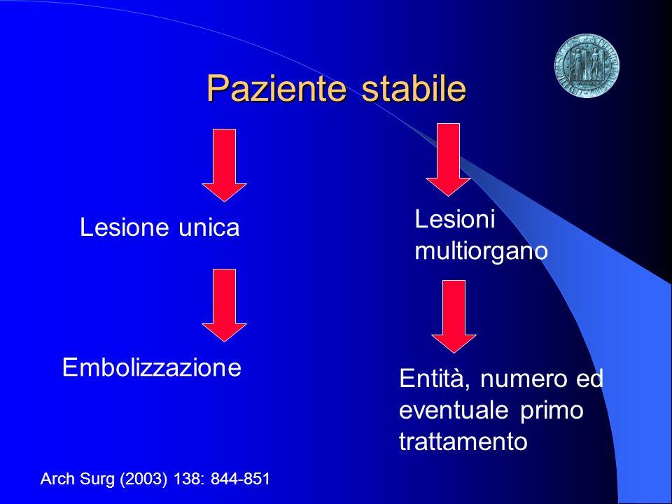 Paziente stabile Lesioni multiorgano Lesione unica Embolizzazione
