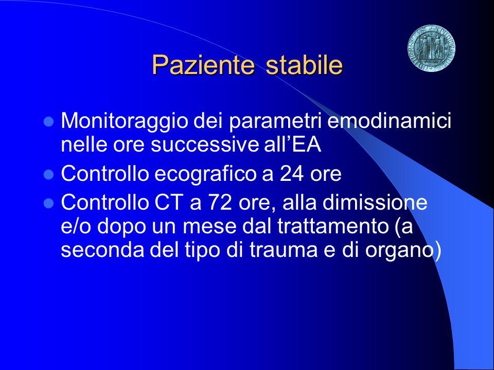 Paziente stabile Monitoraggio dei parametri emodinamici nelle ore successive all'EA. Controllo ecografico a 24 ore.