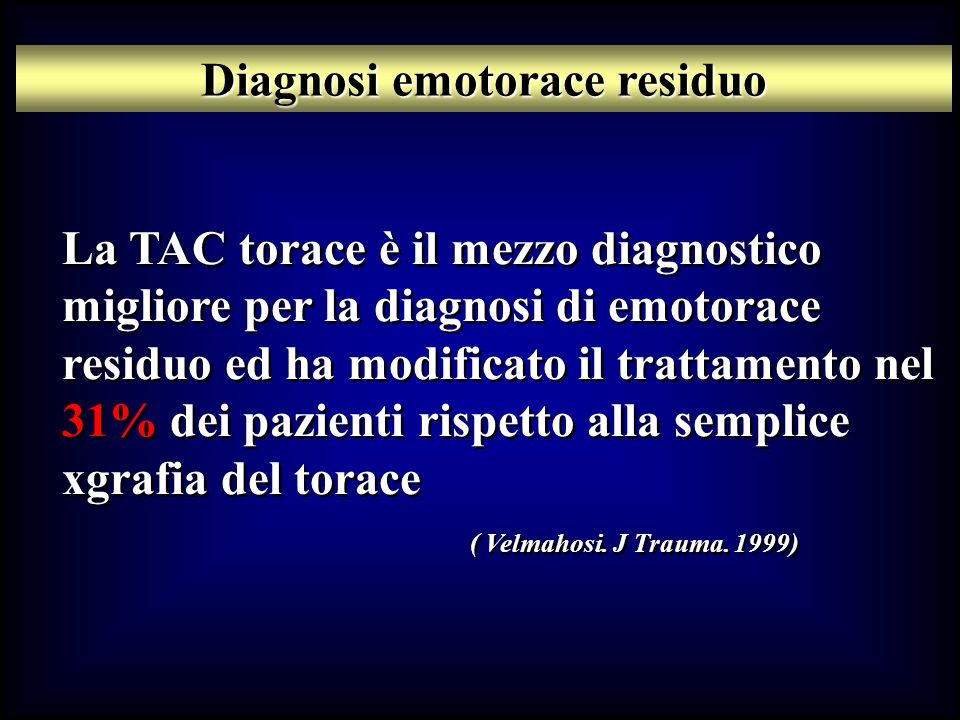Diagnosi emotorace residuo