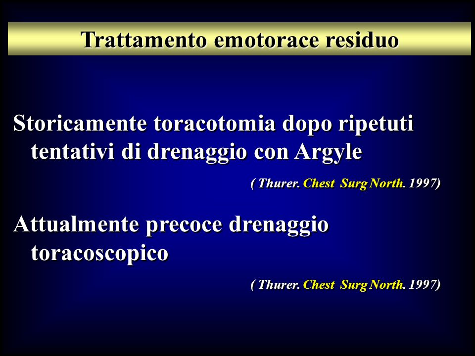 Trattamento emotorace residuo