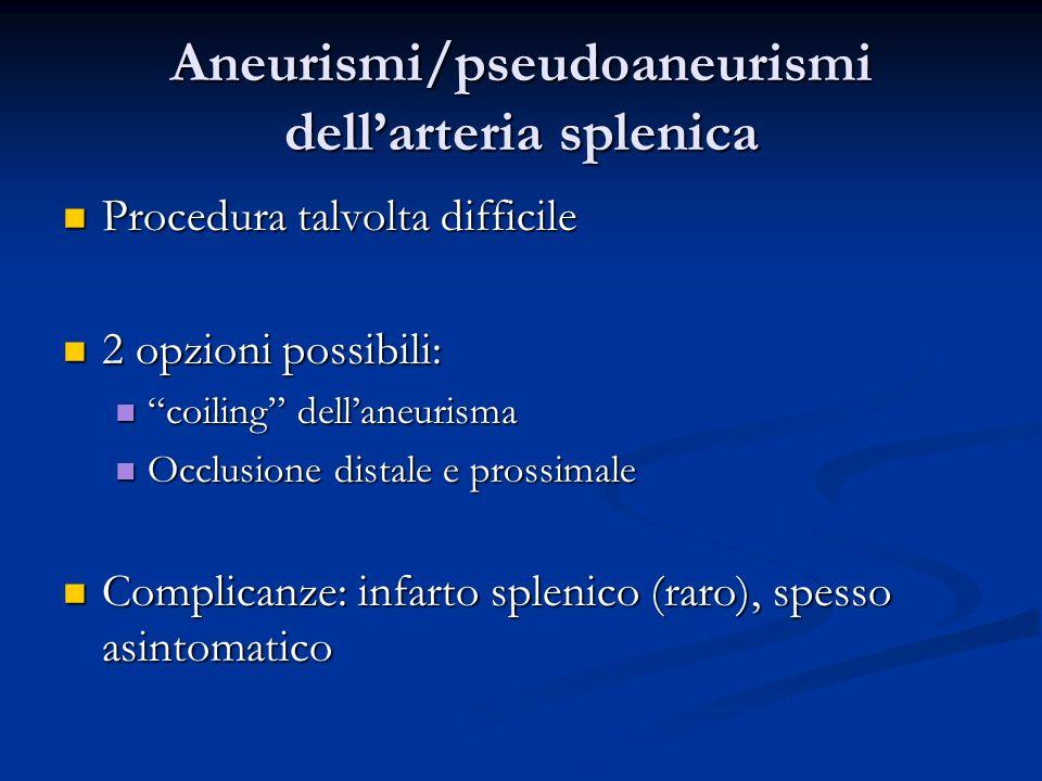Aneurismi/pseudoaneurismi dell'arteria splenica
