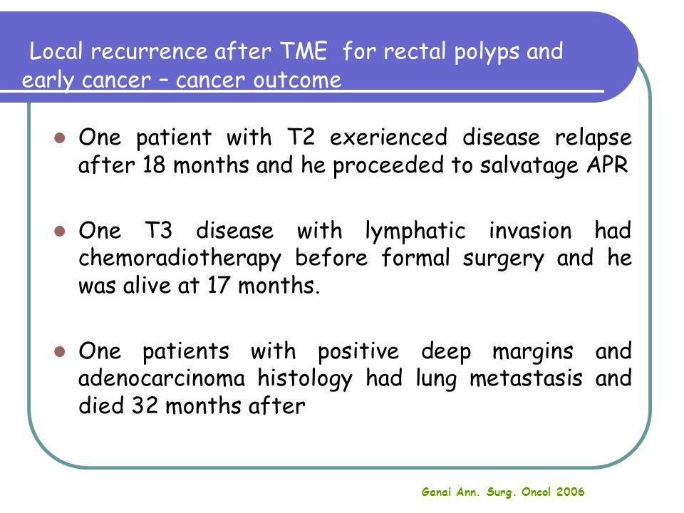 Local recurrence after TME for rectal polyps and early cancer – cancer outcome