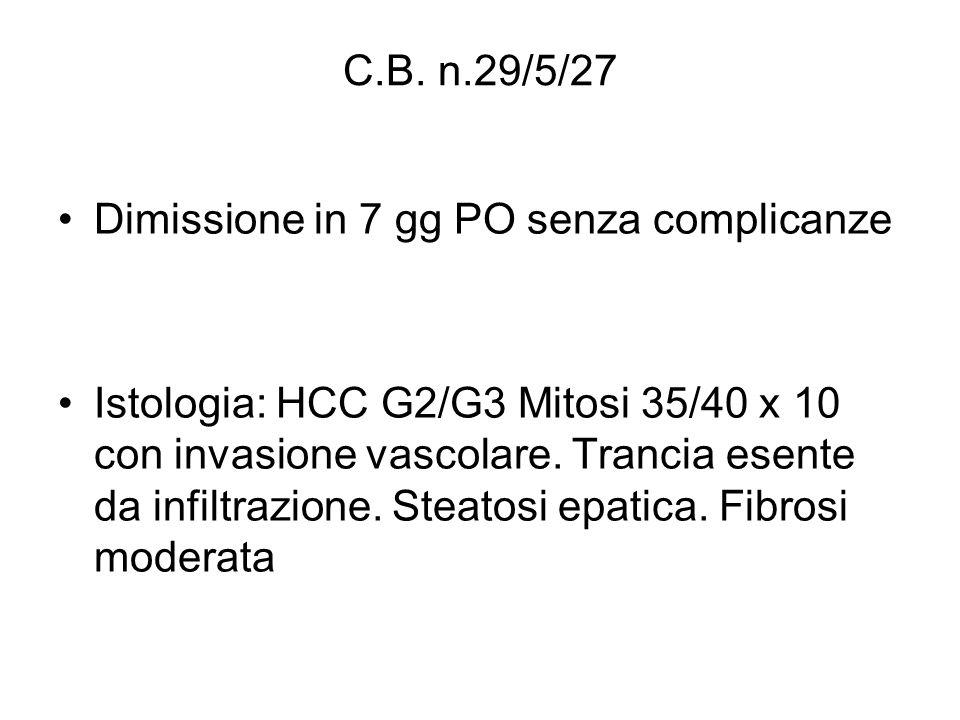 C.B. n.29/5/27 Dimissione in 7 gg PO senza complicanze.