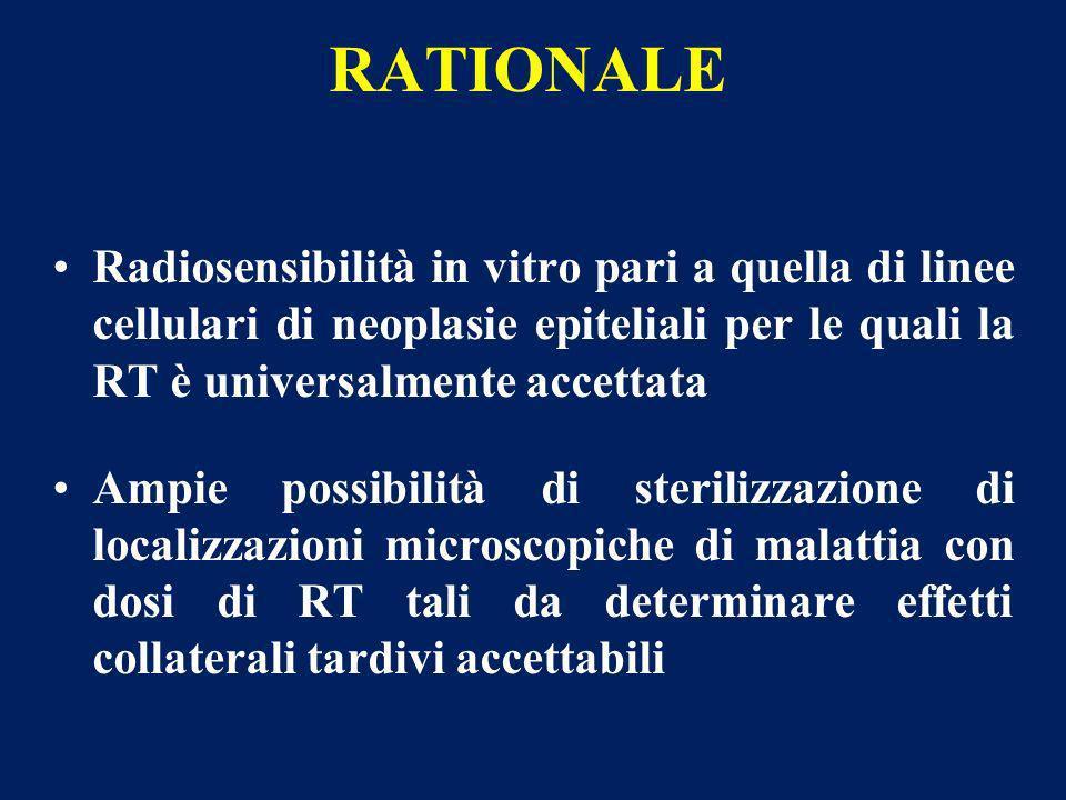 RATIONALE Radiosensibilità in vitro pari a quella di linee cellulari di neoplasie epiteliali per le quali la RT è universalmente accettata.