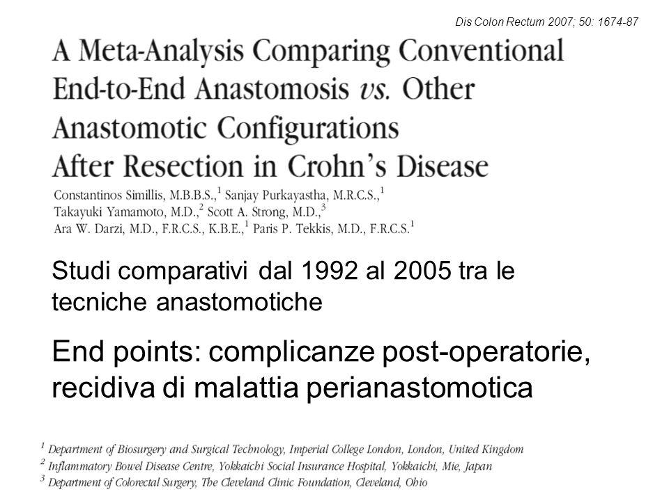 Studi comparativi dal 1992 al 2005 tra le tecniche anastomotiche