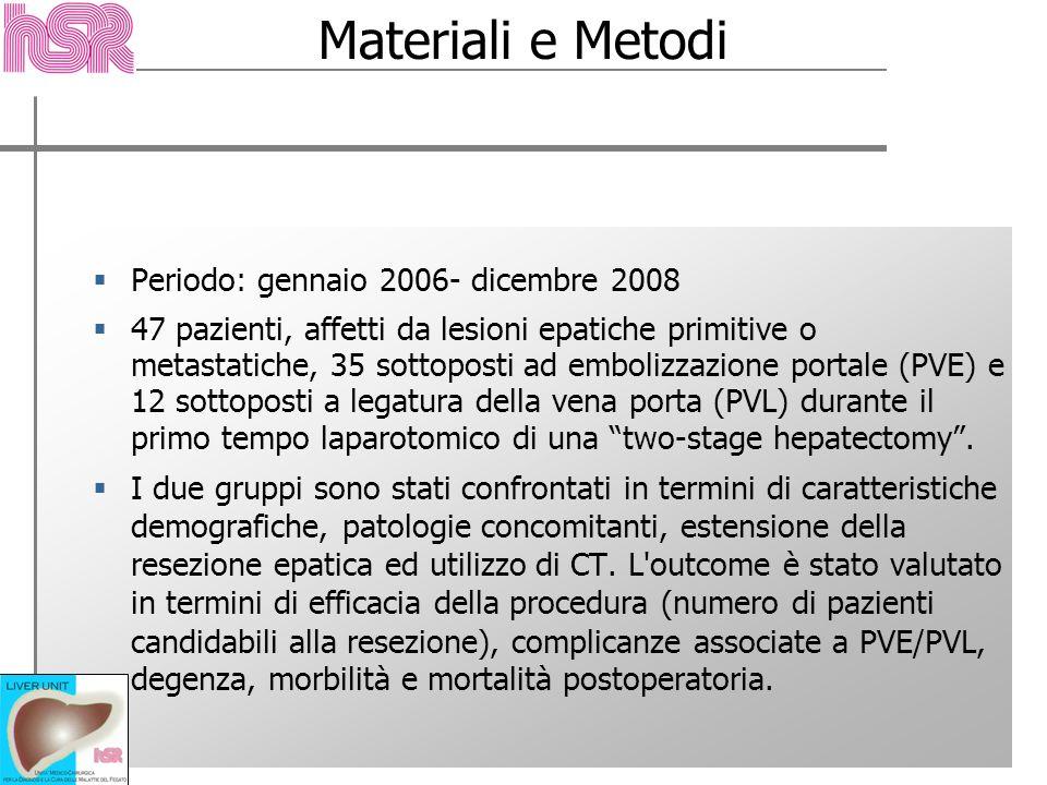 Materiali e Metodi Periodo: gennaio 2006- dicembre 2008