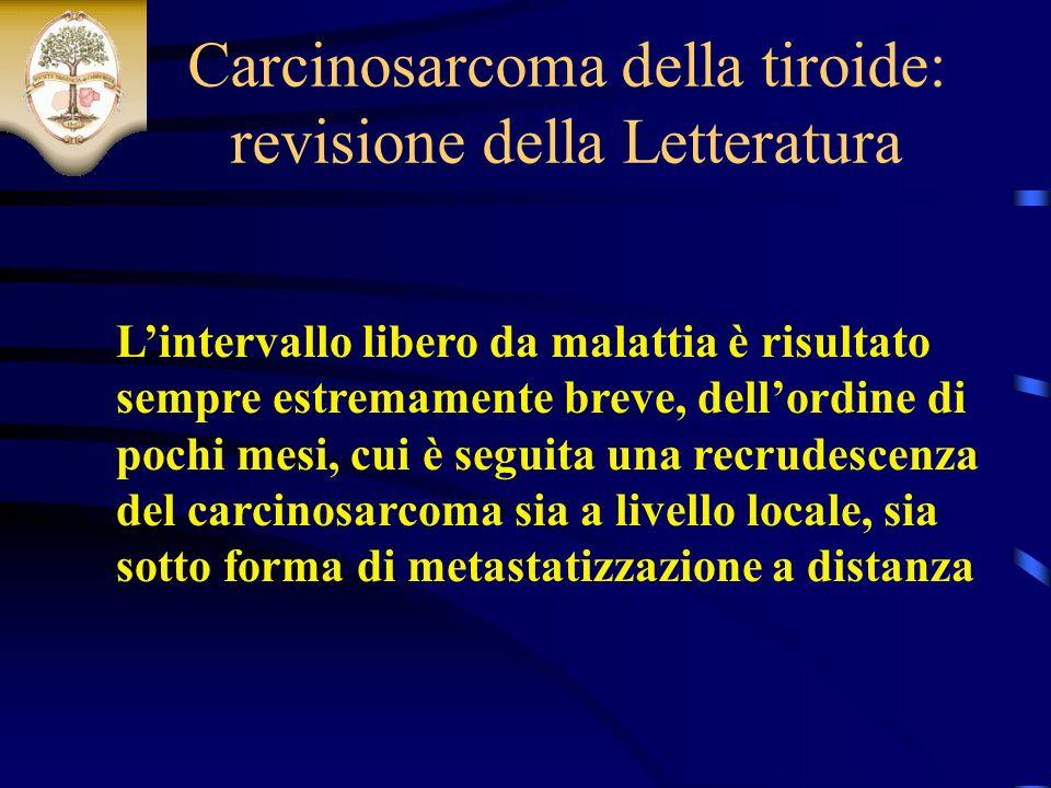 Carcinosarcoma della tiroide: revisione della Letteratura