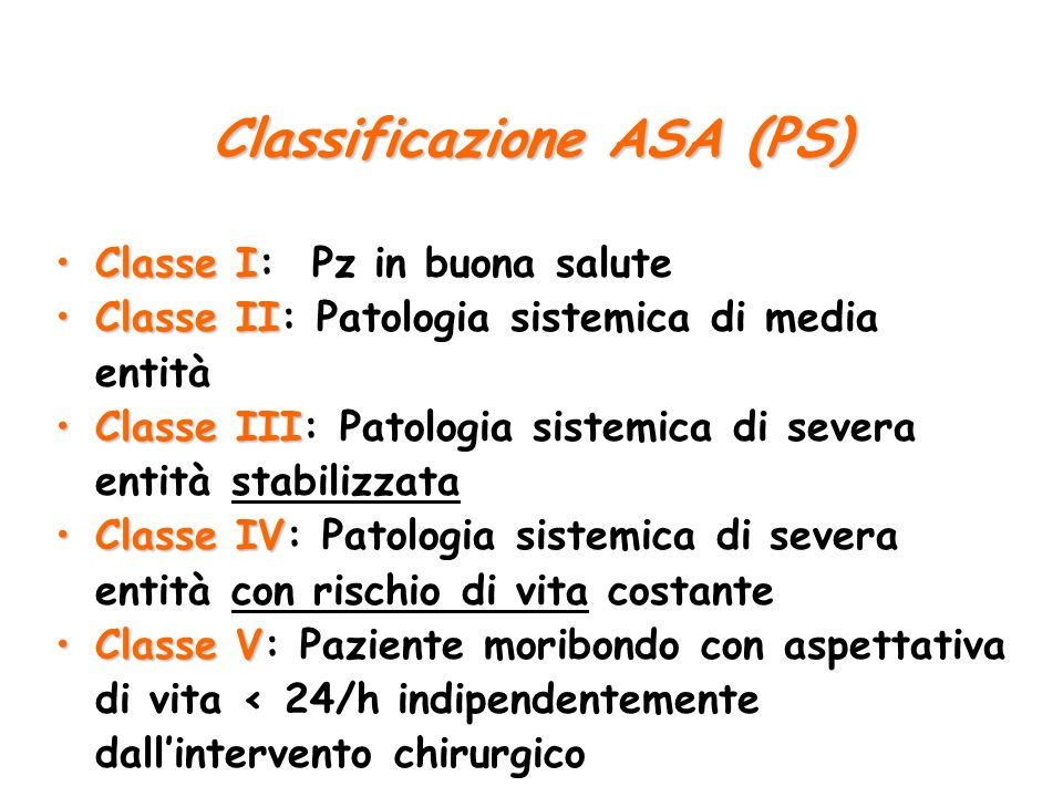 Classificazione ASA (PS)