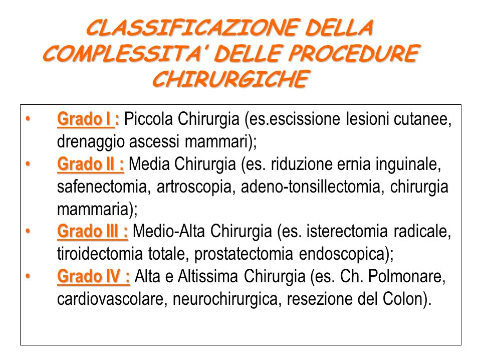 CLASSIFICAZIONE DELLA COMPLESSITA' DELLE PROCEDURE CHIRURGICHE