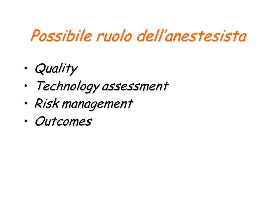Possibile ruolo dell'anestesista
