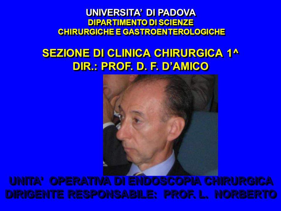 UNIVERSITA' DI PADOVA DIPARTIMENTO DI SCIENZE CHIRURGICHE E GASTROENTEROLOGICHE SEZIONE DI CLINICA CHIRURGICA 1^ DIR.: PROF. D. F. D'AMICO