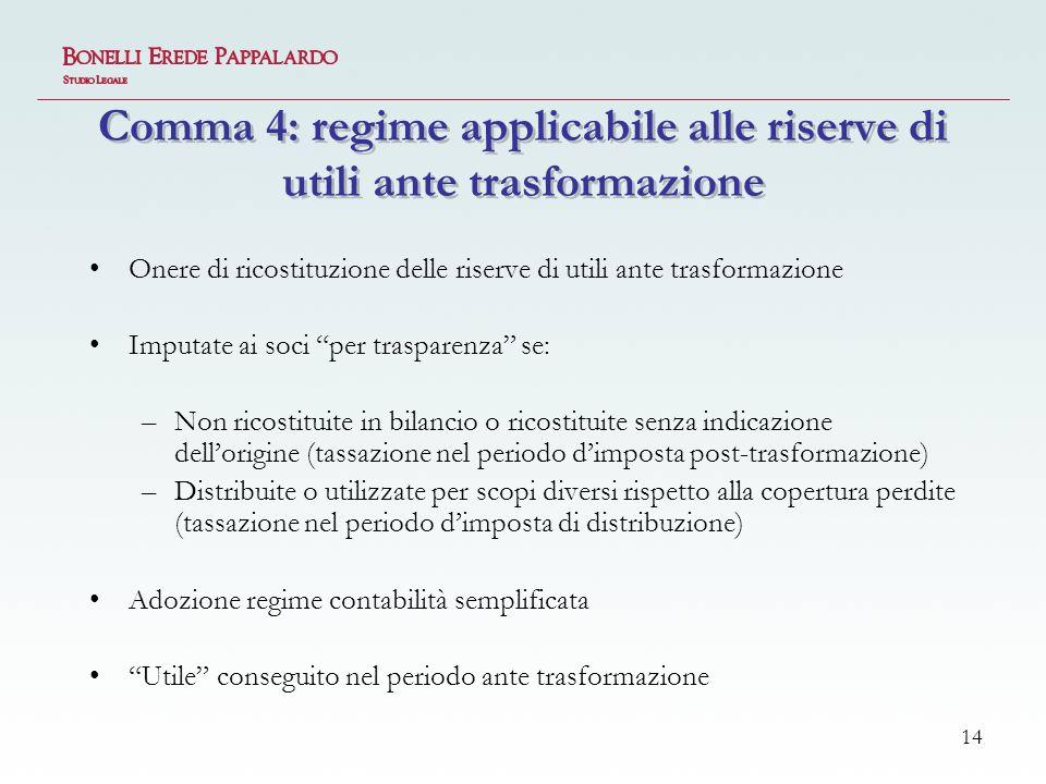 Comma 4: regime applicabile alle riserve di utili ante trasformazione