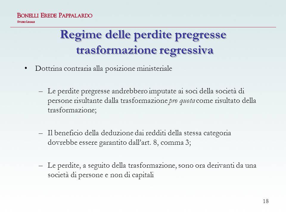 Regime delle perdite pregresse trasformazione regressiva