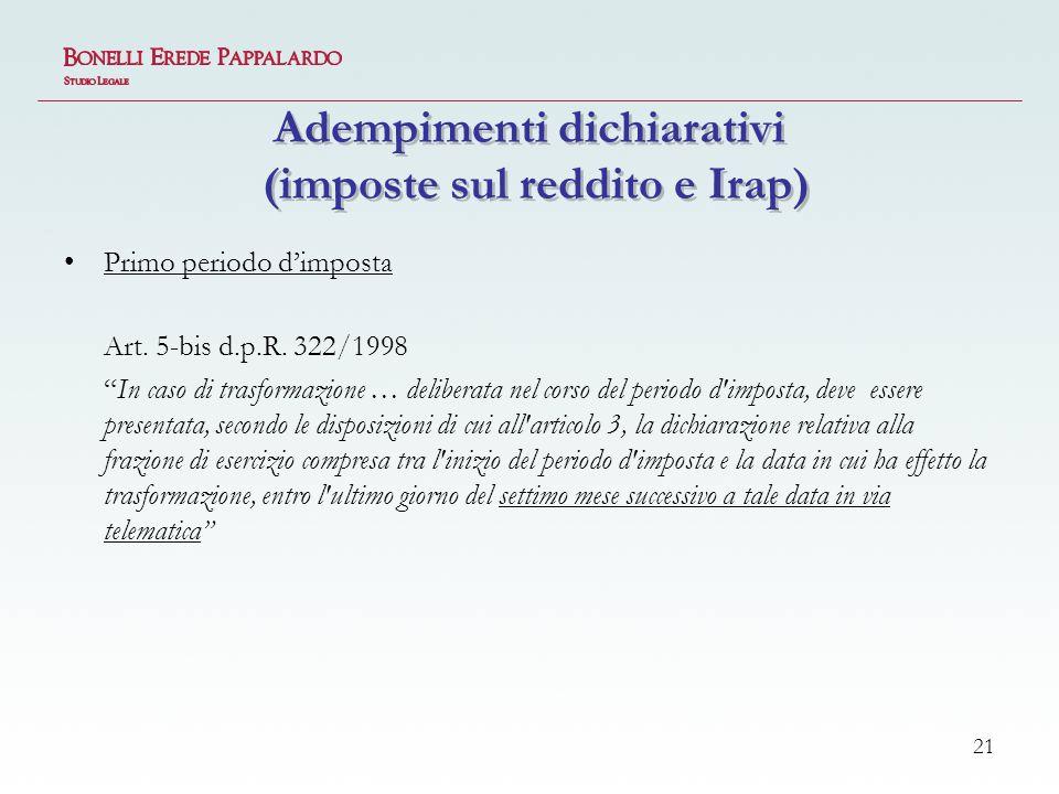 Adempimenti dichiarativi (imposte sul reddito e Irap)