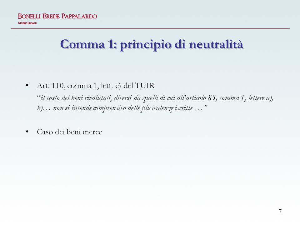 Comma 1: principio di neutralità