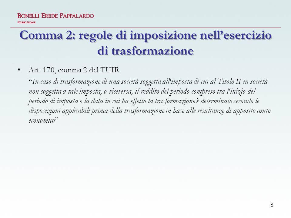 Comma 2: regole di imposizione nell'esercizio di trasformazione