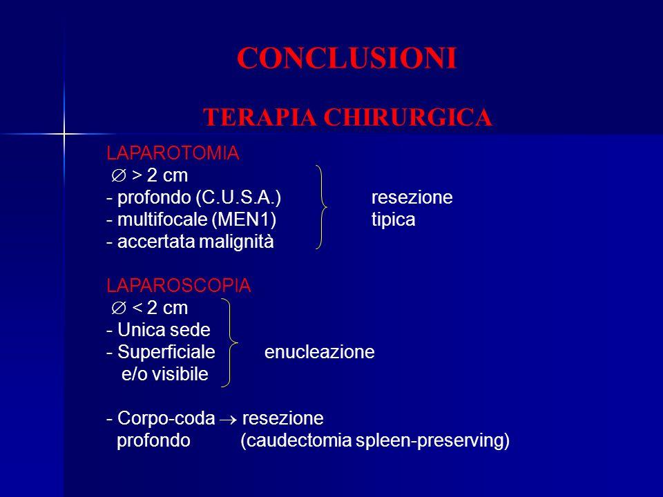 CONCLUSIONI TERAPIA CHIRURGICA LAPAROTOMIA  > 2 cm