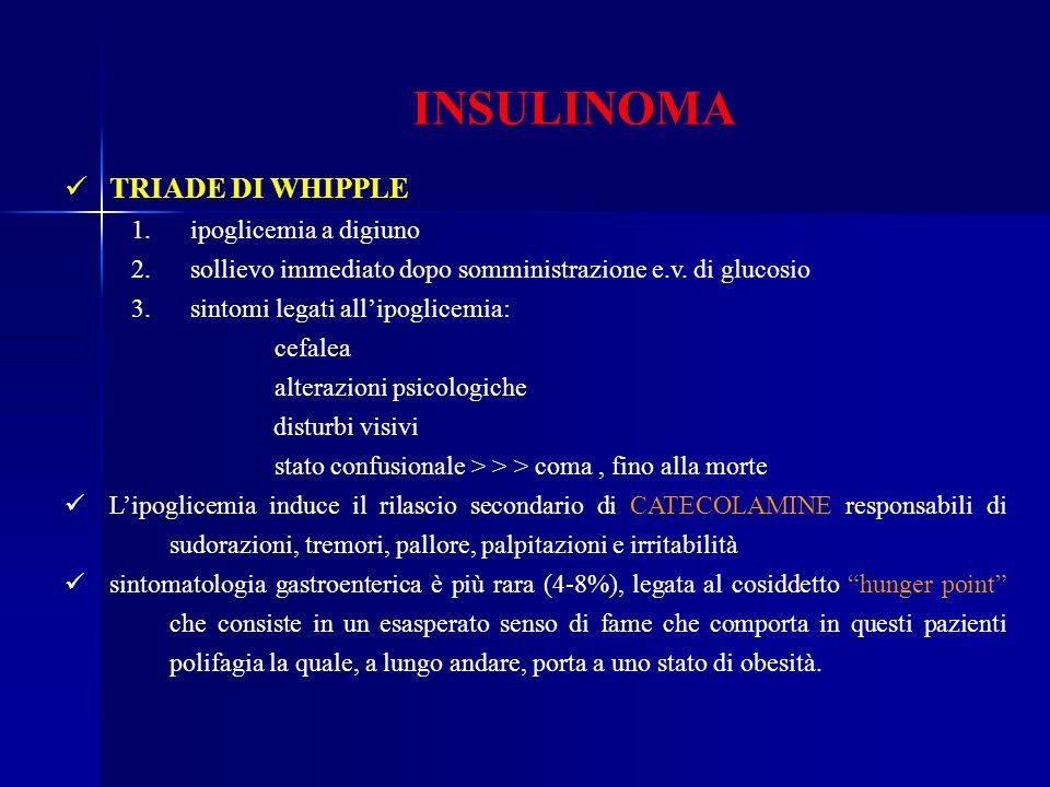 INSULINOMA TRIADE DI WHIPPLE 1. ipoglicemia a digiuno