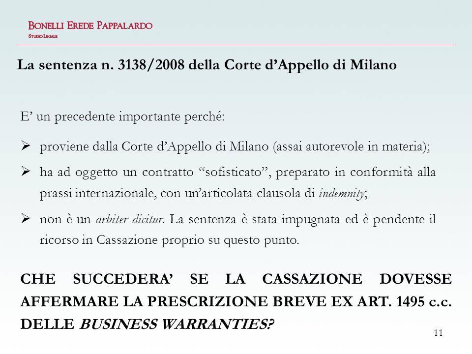 La sentenza n. 3138/2008 della Corte d'Appello di Milano