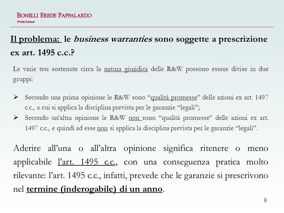 Il problema: le business warranties sono soggette a prescrizione ex art. 1495 c.c.