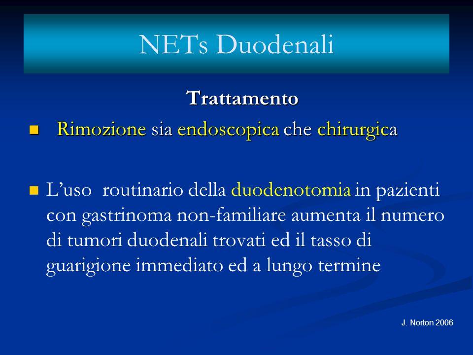 NETs Duodenali Trattamento Rimozione sia endoscopica che chirurgica